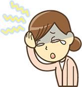 首と肩の不調で、頭痛がしている人の写真